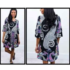 Dresses & Skirts - Black Paisley Ruffle Sleeve Strappy Detail Dress